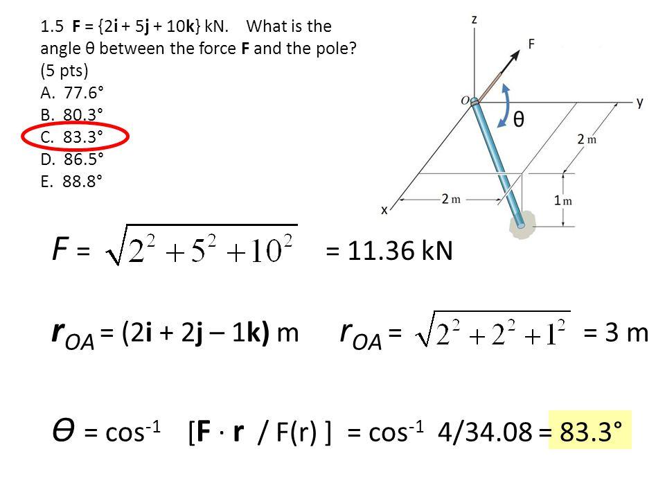 ϴ = cos-1 [F ∙ r / F(r) ] = cos-1 4/34.08 = 83.3°